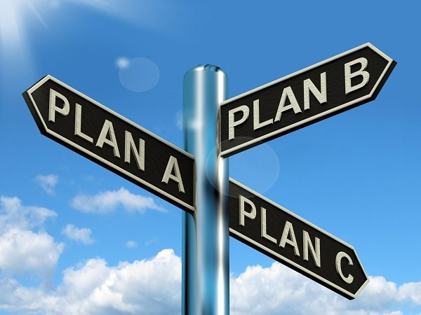 Photo of sign saying plan a plan b and plan c